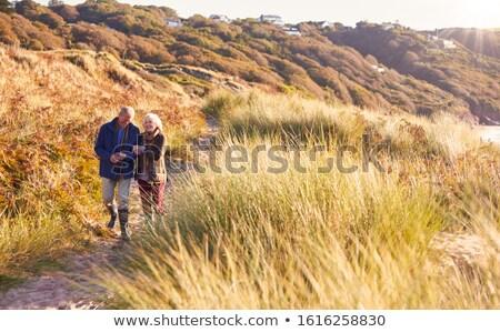 Pareja · caminando · playa · brazo · sonriendo · hombre - foto stock © is2
