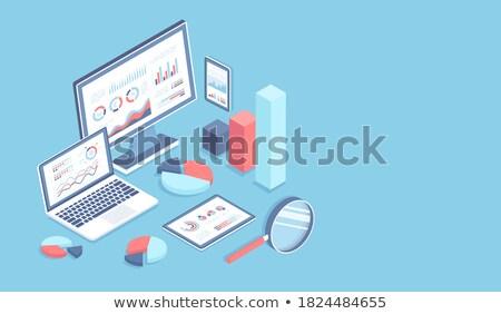 Laptop képernyő jelentés 3D modern konferencia Stock fotó © tashatuvango