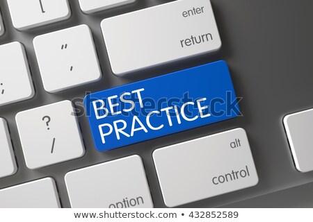 keyboard with blue button   best practice 3d stockfoto © tashatuvango