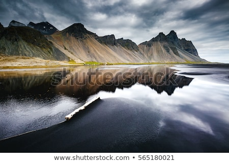 Plage humide noir sable emplacement Islande Photo stock © Leonidtit