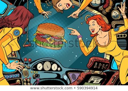 Pop art astronaut street food Stock photo © studiostoks