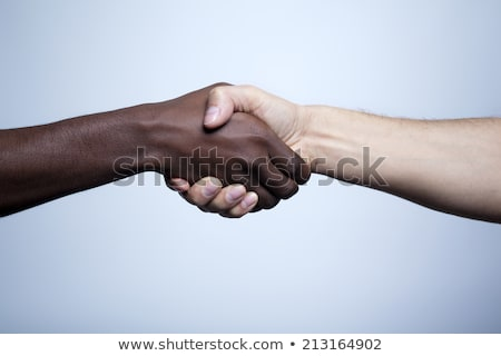 Handshake black and white, African and Caucasian people Stock photo © studiostoks