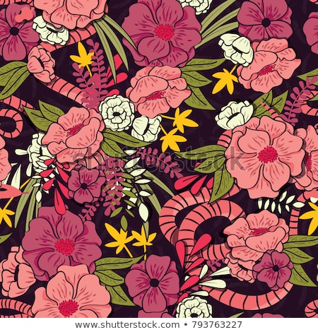Floral jungle with snakes seamless pattern, tropical flowers and leaves, botanical hand drawn vibran Stock photo © BlueLela