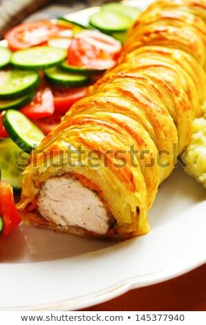 marhahús · filé · krumpli · friss · saláta · étel - stock fotó © m-studio