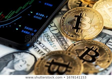 Bitcoin dólares moeda teia ouro mercado Foto stock © OleksandrO