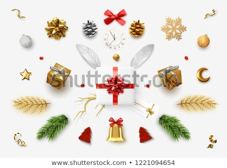 Christmas objects on festive red background Stock photo © Sonya_illustrations