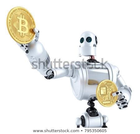 Or bitcoin pièce brillant robots main Photo stock © Kirill_M