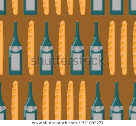 Stockfoto: Frans · naadloos · baguette · wijn · vector · voedsel