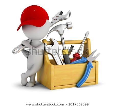 Stock photo: 3d small people - repairman near the toolbox