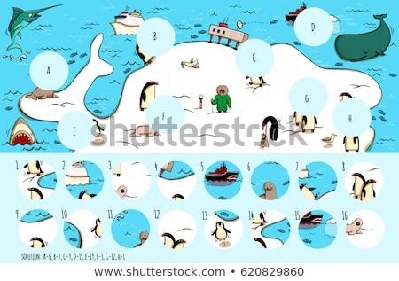Dzieci puzzle gry odnaleźć brakujący rekina Zdjęcia stock © adrian_n