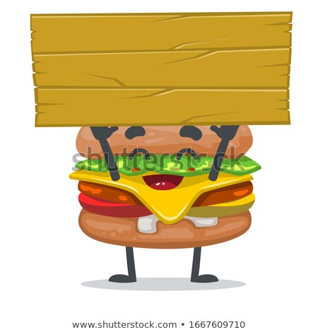cheeseburger · cartoon · clipart · illustrazione · hamburger · alimentare - foto d'archivio © lenm