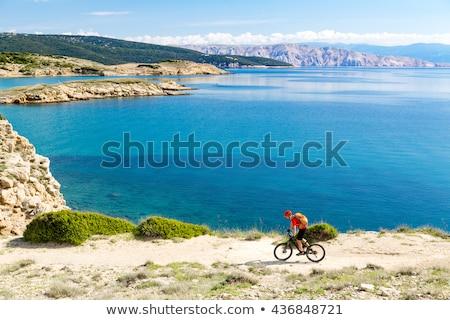 mountain biker looking at sunset bike trail in autumn mountains stock photo © blasbike
