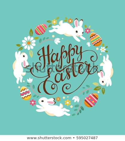 Happy Easter hand written calligraphy text for greeting card and colored eggs Stock photo © orensila