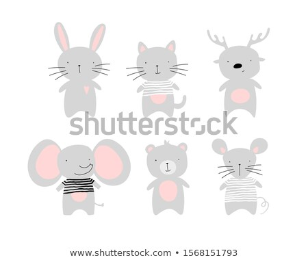 animal set portrait of a mouse in love flat graphics stock photo © foxysgraphic