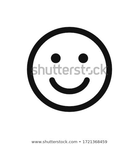 Bianco nero sorridere cartoon faccia buffa isolato Foto d'archivio © hittoon