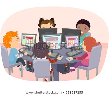 Stickman Kids Computer Class Stock photo © lenm