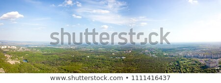 The panoramic bird's eye view shooting from drone to Holosiivskyi district with recreational area an Stock photo © artjazz