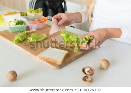 iskola · főz ·  · lány · étel - stock fotó © monkey_business