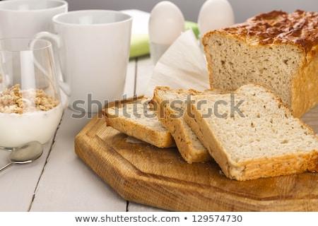 Gluténmentes reggeli piros joghurt bogyók üveg Stock fotó © Melnyk