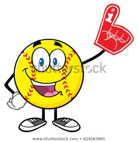 Heureux softball mascotte dessinée personnage mousse Photo stock © hittoon