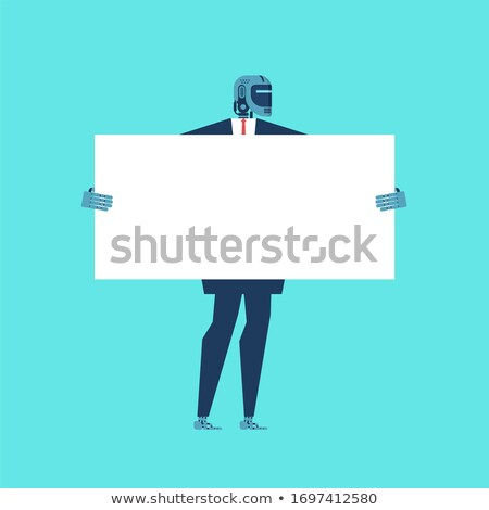 Robot Businessman holding white banner. Cyborg keep clean sheet. Stock photo © MaryValery