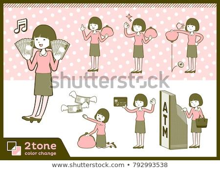 Straight bangs hair pink blouse women money Stock photo © toyotoyo