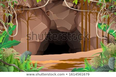 Barlang bejárat jelenet illusztráció fa erdő Stock fotó © bluering