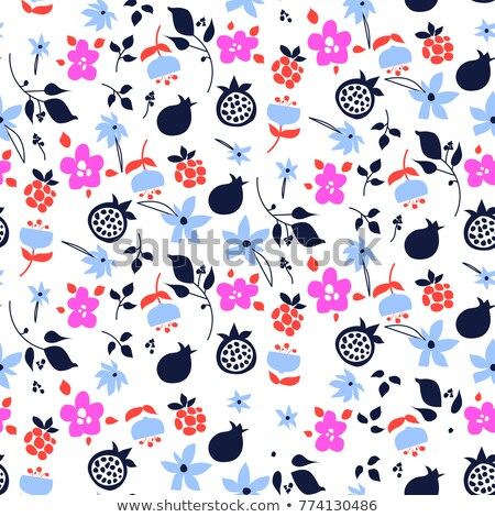 Millefleur flowers and fruits pink purple abstract seamless pattern. Stock photo © yopixart