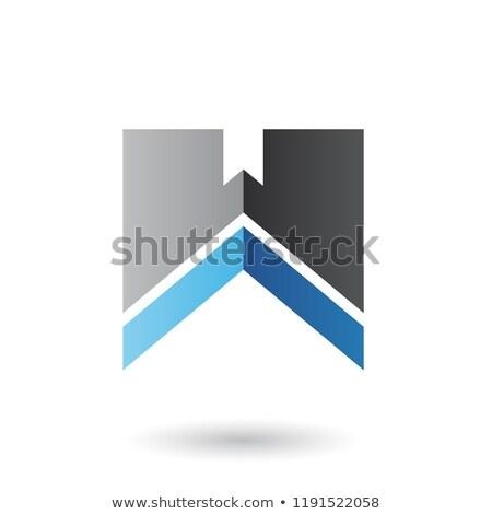 Czarny niebieski list w naszywka wektora ilustracja Zdjęcia stock © cidepix