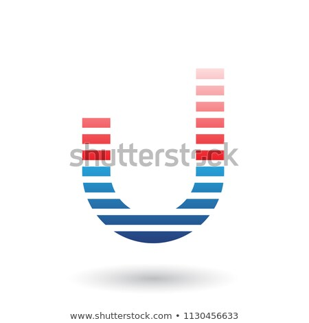 Red and Blue Letter U Icon with Horizontal Thin Stripes Vector I Stock photo © cidepix