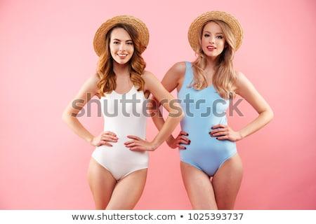 привлекательный купальник Солнцезащитные очки расслабляющая Spa Сток-фото © deandrobot