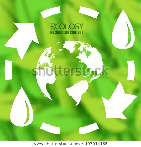 Stock photo: flat cycle eco infographic blurred background concept.  Vector illustration design