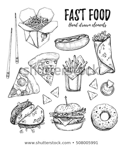 Foto stock: Pizza And Hot Dog Street Food Vector Illustration