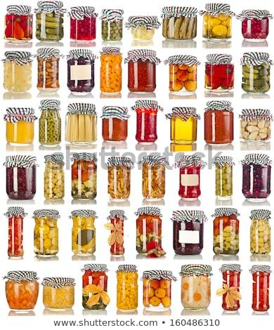 Megőrzött gyümölcsök zöldségek üveg szett görög Stock fotó © robuart