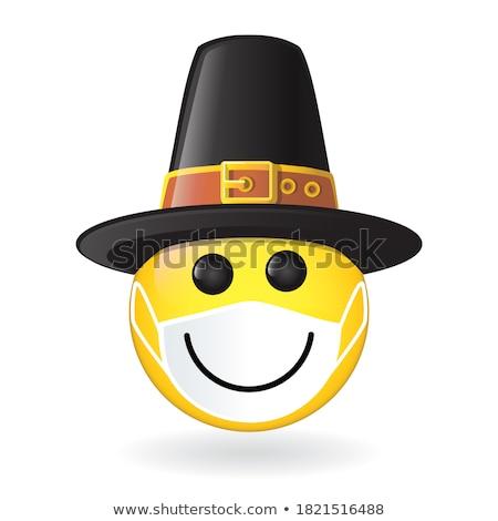 удивленный Cartoon паломник иллюстрация глядя Hat Сток-фото © cthoman