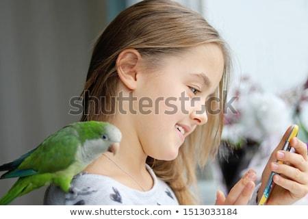 Unatkozik kicsi papagáj rajz illusztráció néz Stock fotó © cthoman