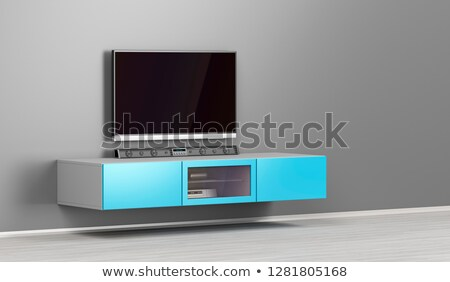 Wall mounted tv cabinet and big lcd tv Stock photo © magraphics