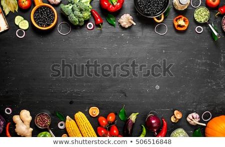 Stock fotó: Friss · nyers · zöldségek · gyümölcs · hozzávalók · egészséges