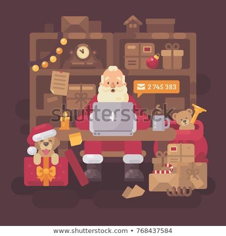 Noel baba oturma büro ofis çocuklar Stok fotoğraf © IvanDubovik
