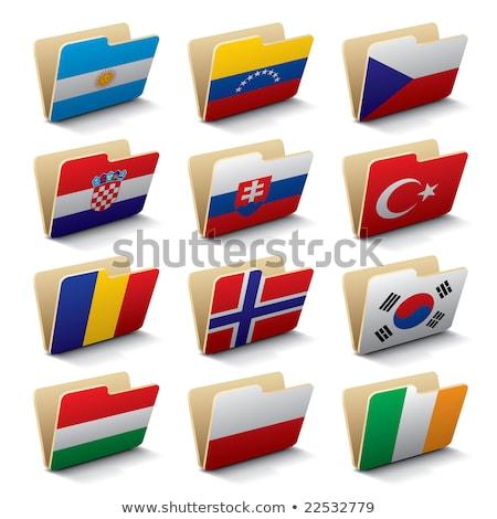 Mappa zászló Magyarország akták izolált fehér Stock fotó © MikhailMishchenko