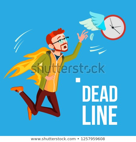 Deadline Vector. Businessman In Fire Catching By Hands Flying Clock With Wings. Illustration Stock photo © pikepicture