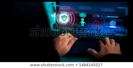 antivirüs · yazılım · afiş · adam · dizüstü · bilgisayar - stok fotoğraf © rastudio