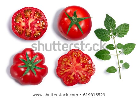 Round and ribbed Tomatoes, leaf, top view, paths Stock photo © maxsol7