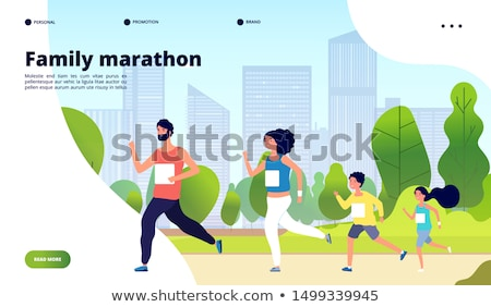 mother with daughter in park couple jogging vector stock photo © robuart