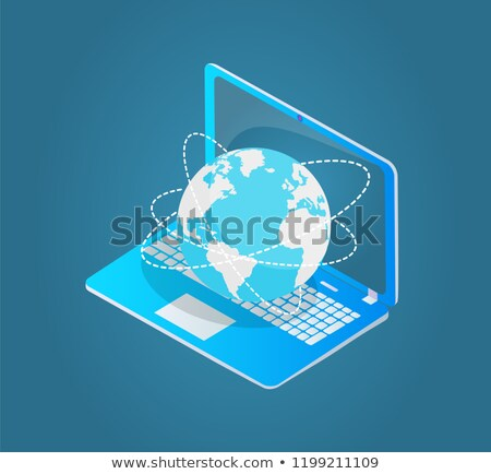 Laptop with World Wide Web Emblem 3d Model Vector Stock photo © robuart