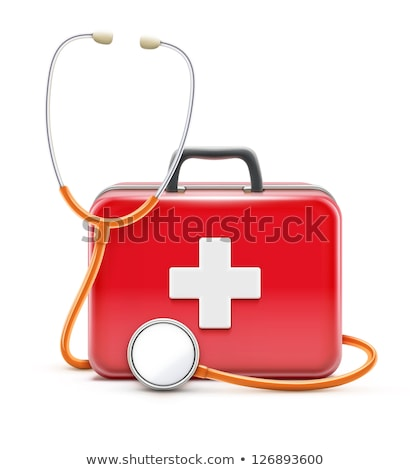 Red color stethoscope icon, medical equipment vector Stock photo © MarySan