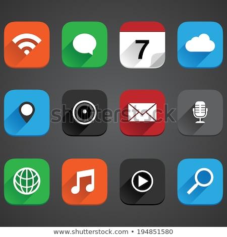 Stock fotó: Felhő · app · ikon · izolált · fehér · számítógép