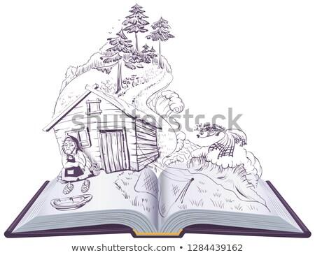 Verhaal visser gouden vis Open boek illustratie Stockfoto © orensila
