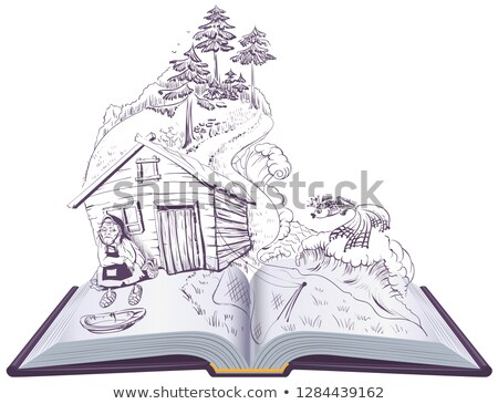 Pushkin tale of fisherman and golden fish. Open book illustration Stock photo © orensila