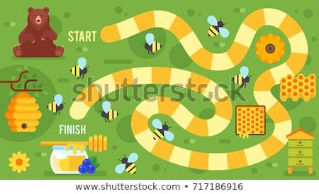 Bee bordspel sjabloon illustratie achtergrond kunst Stockfoto © colematt